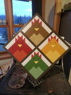 Admirable Barn Quilt Patterns Ideas - Dont miss this Splendid Storm at Sea Quilt Ideas One of part from 35 Barn Quilt Patterns Ideas Arti - Barn Quilt Designs, Barn Quilt Patterns, Quilting Designs, Vogel Quilt, Chicken Barn, Chicken Houses, Storm At Sea Quilt, Chicken Quilt, Chicken Squares