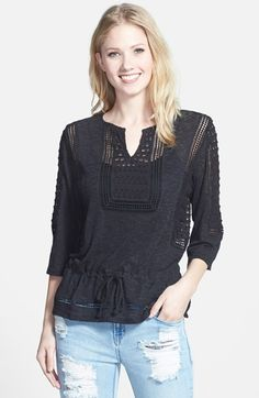 Lucky Brand Lace Inset Peplum Top available at #Nordstrom