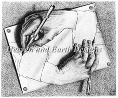 Favorite Artist: MC Escher: Drawing Hands: lithograph: x Escher Drawing Hands, Escher Drawings, 3d Drawings, Funny Drawings, Pencil Drawings, Drawing Drawing, Drawing Skills, Drawing Lessons, Figure Drawings