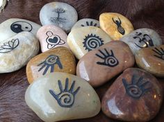 Magical Symbol Stones  Sacred messages carved in river rock by TheSageGoddess, $9.00