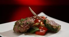 Annie and Jason's Herb Crusted Lamb Rack With Vegetable and Haloumi Stack And Roasted Tomatoes: http://gustotv.com/recipes/lunch/herb-crusted-lamb-rack-vegetable-haloumi-stack-roasted-tomatoes/