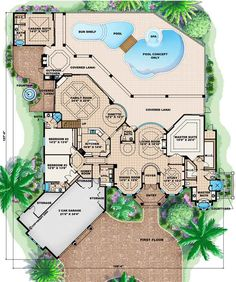 Luxury Style House Plans - 5107 Square Foot Home, 2 Story, 5 Bedroom and 3 3 Bath, 3 Garage Stalls by Monster House Plans - Plan 55-155