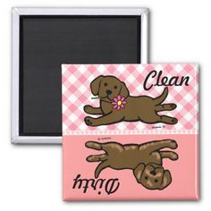 Chocolate Labrador Puppy Clean / Dirty Refrigerator Magnets