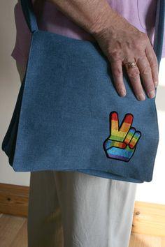 Retro 70's Hippy Denim Handbag Peace Symbol by BlossomvioletCrafts