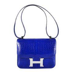 U WILL FLIP HERMES CONSTANCE CROCODILE BLUE ELECTRIC BAG 23cm 2DIE