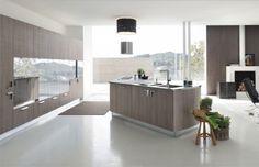 minimalistische moderne küche holzfronten braungrau kochinsel