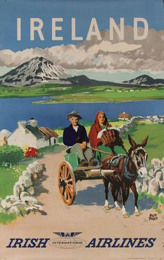DP Vintage Posters - Irish Airlines Ireland Travel Poster, donkey cart