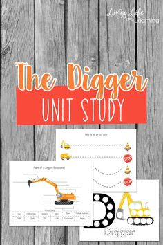 Do you have a child who loves diggers? Put together your own Digger unit study to learn all about them using books, activities and printables. Printable Activities For Kids, Preschool Learning Activities, Preschool Printables, Fun Learning, Preschool Kindergarten, Homeschooling Resources, Reading Resources, Kindergarten Reading, Toddler Activities