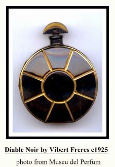 Diable Noir by Vibert Freres: launched in round disk shaped black glass bottle molded with radiating lines piqued out in gilt enamel, crescent shaped black glass stopper, also gilt. Black Perfume, Bottle Box, Beautiful Perfume, Vintage Perfume Bottles, Black Glass, Glass Bottles, Vintage Black, Flask, Container