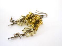 Yellow Haze  Swarovski Cluster Earrings