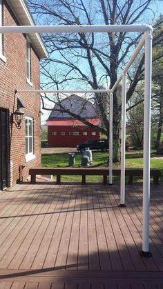 diy patio screening for deck . diy patio screening for deck Diy Pergola, Pergola Design, Deck With Pergola, Pergola Ideas, Diy Awning, Pergola Roof, Patio Design, Privacy Ideas For Deck, Deck Awnings