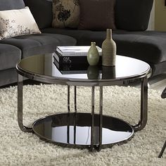 Edison Black Nickel Plated Castered Modern Round Coffee Table   Overstock.com
