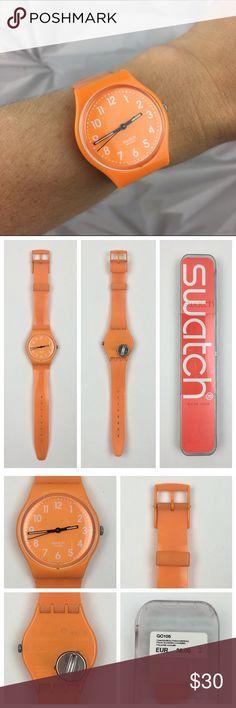 [Swatch] Fresh Papaya Watch Bright Pop Plastic Fun Funky and classic Swatch watch. From the Gent Originals line. Bright Papaya orange plastic case and strap. See last photo for product details.   Condition: Good pre-owned condition. Some very faint signs of wear on strap where you slide to buckle. Not very noticeable. Comes with case and user manual. Needs a new battery! Swatch Accessories Watches