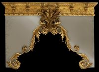 photo of luxury drapery cornice with gold finish