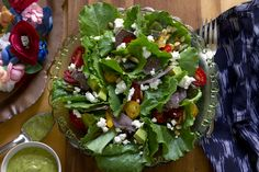 Los Cabos Summer Salad Recipe with Poblano Chiles, Corn, Romaine Lettuce, Avocado, Cherry Tomatoes, Feta, Pumpkin Seeds and Tortilla Chips