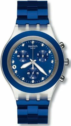 Swatch Men's FULL BLOODED SVCK4055AG Blue Aluminum Quartz Watch with Blue Dial Swatch. $144.50. 30 Meters / 100 Feet / 3 ATM Water Resistant. Mineral Crystal. Quartz Movement. 43mm Case Diameter. FULL BLOODED Collection. Save 15%!