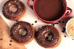 Pumpkin Doughnuts with chocolate glaze all real food ingredients and no refined sugars!