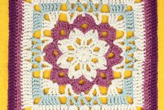 Free Crochet Pattern: Floral Kaleidoscope Afghan Square