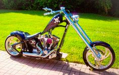"""2007 Custom Built Chopper. Frame has 38° Rake, 8″ Up, 12"""" Over and 65mm Front End with a Jesse James Villain Gas Tank and modified Fenders/Struts. The Harley-Davidson Motor has been modified with 10.1 Pistons, EV46 Cam. http://totallyradchoppers.com/2007-custom-chopper/"""