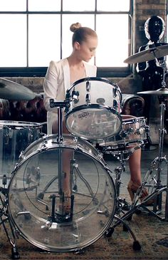 Cool girls play the drums on high heels - Florrie for Hoss Intropia (By Miss At La Playa)