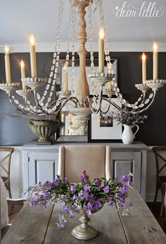 Dear Lillie: Kendall Charcoal in our Dining Room Hallway Chandelier, Chandelier Makeover, Simple Chandelier, Romantic Shabby Chic, Shabby Chic Style, Country Hallway, Mirror Restoration, Painted Kitchen Tables, Kendall Charcoal
