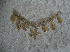 AWESOME SEA SHELLS Charm Bracelet  Chunky Bold by lotsaoldstuff, $17.00