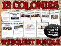 13 Colonies (American Colonies) - Webquest Bundle / Centers Activity - This 13 Colonies bundle contains 10 unique webquests totaling over 55 pages related to the major people and events of the 13 Colonies in Colonial America. Each of these 13 Colonies webquests can be used individually throughout a unit of study on the history of the 13 Colonies or as part of a centers or station activity.