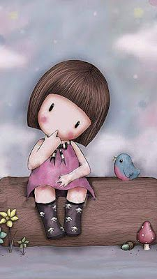 Cute and whimsical art A little girl and birds. Cute Images, Cute Pictures, Santoro London, Whimsical Art, Cute Illustration, Cute Cartoon, Cute Drawings, Cute Art, Decoupage