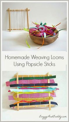 Weaving loom from lolly sticks :-)