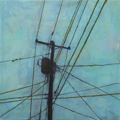 katherine bowling - power lines Abstract Art, Abstract Portrait, Portrait Paintings, Acrylic Paintings, Art Paintings, Urban Landscape, Landscape Art, First Art, Urban Sketching