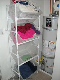 PVC laundry sorter. This would also be great in the garage. Measurements and directions are included.