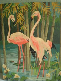 Vintage Paint By Number Pink Flamingos. Spring Color Inspiration.
