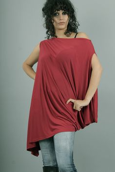 NENA Asymmetrical plus size oversized red tunic by Comfortissimo, $48.00