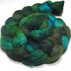 Polwarth & tussah silk roving hand dyed spinning fiber 4.4 oz Emerald City. , via Etsy. I love it!!