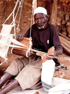 A weaver in West Africa | Mali. Dogon people across the Niger River Mali, Africa by Stefano Oppo