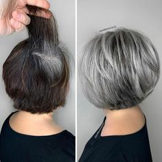 Short Grey Hair, Short Hair With Layers, Short Hair Cuts For Women, Hair Color For Black Hair, Black Hair Going Grey, Grey Hair Bob, Grey Hair And Makeup, Grey Hair Roots, Silver Hair Highlights