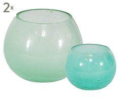 Set de 4 portavelas de cristal Jamilla - verde y turquesa                                                                                                                                                     Mais