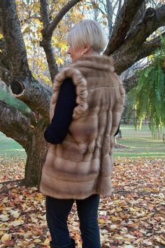 Fabulous Natural Fawn Pastel Blonde Female MINK Fur Jacket Vest  L - XL MINT! #Custom #Vest