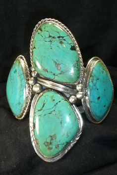 HUGE-4-STONE-NAVAJO-STERLING-SILVER-TURQUOISE-BRACELET-NATIVE-AMERICAN-DEAD-PAWN
