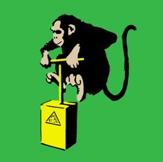 The monkey stencil. Download it for free at http://banksy-stencils.com/.