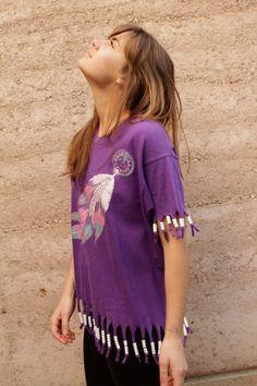 90s beaded FRINGE feather DREAMCATCHER southwest pastel t shirt. $36.00, via Etsy.