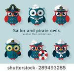 Illustration about Ahoy! Set of sailor, captain and pirate owls for sea and nautical design. Funny icons isolated on blue background. Illustration of cute, character, frock - 55997000 Owl Vector, Vector Clipart, Vector Art, Owl Cartoon, Cute Cartoon, Owl Coloring Pages, Nautical Design, Owl Patterns, Blue Backgrounds