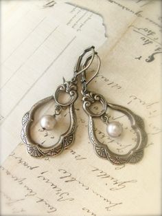 Antique Brass Pearl Earrings  Jewelry by Sweet And by sweetsimple, $17.00  Weddings bridesmaids