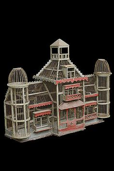 French Antique Painted Bird Cage