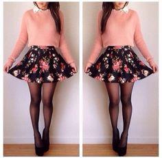 skirt floral skirt cute sweater blouse peach bag t-shirt shirt cool girl style skater skirt top clothes style #cute <3