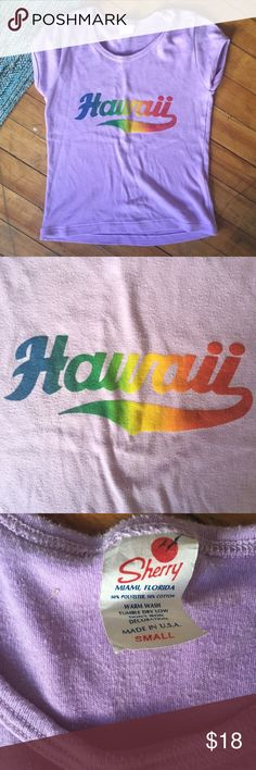 Vintage Sherry Purple Hawaii Graphic Tee Never-ending summer vintage purple Hawaii t-shirt. Size small, has a mildly cropped fit. Shows some signs of wear including light pilling. Still in great condition for a vintage piece. Sherry Tops Tees - Short Sleeve