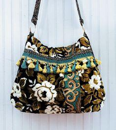 Cut velvet tapestry bag in brown black and blue floral purse