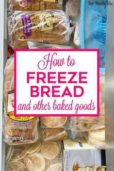 How to freeze bread and other baked goods to maintain freshness! Make your bread and baked goods last longer by freezing them. Freezer Cooking, Cooking Tips, Freezer Recipes, Bread Recipes, Freezing Bread, How To Freeze Bread, Freeze Muffins, Frozen Cookies, Dehydrated Food