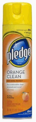 Pledge Orange, 12.5-Ounce Cans (Pack of 12) by Pledge. Save 30 Off!. $57.91. Pledge Orange cleans to reveal the natural beauty and shine! Cleans and removes dust, dirt, smudges, and common allergens in dust from dust mites, pet dander, and pollen. Protects from water spills and stains.