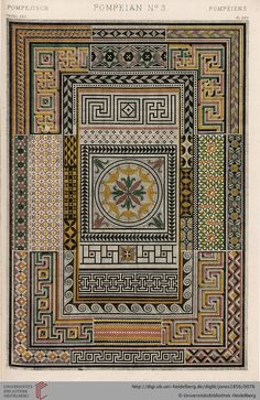 Tafel XXV Pompeii Plate (1 of 3). Owen Jones, The Grammar of Ornament.  Thanks to the University of Heidelberg digital library.
